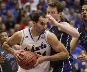 Perry Ellis scored a record 32 points during the game in AFH against TCU  2.15 (photo courtesy of KC Star)
