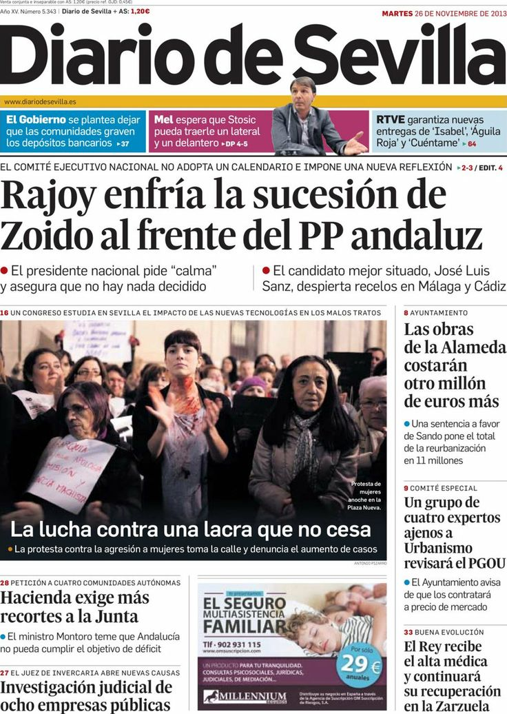 Los Titulares y Portadas de Noticias Destacadas Españolas del 26 de Noviembre de 2013 del Diario De Sevilla ¿Que le pareció esta Portada de este Diario Español?