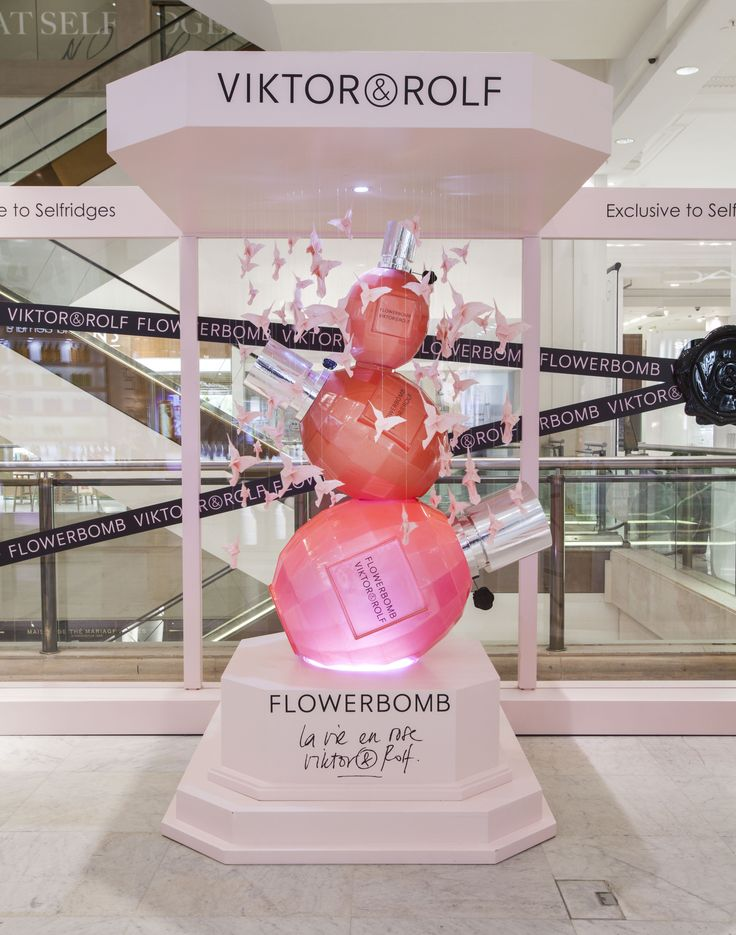 The launch site in Selfridges promoting the new limited edition of Viktor&Rolf's Flowerbomb fragrance, La vie en Rose, celebrating the fragrance's fifth anniversary #display