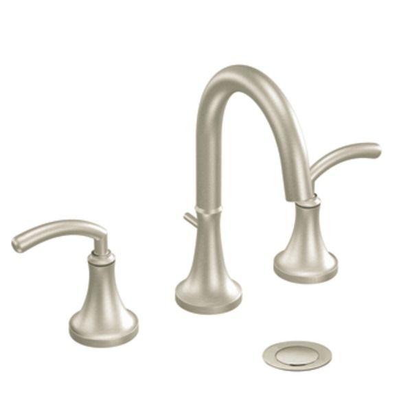 Master Bathroom - Moen Icon Brushed Nickel Two-handle High Arc Bathroom Faucet - TS6520BN