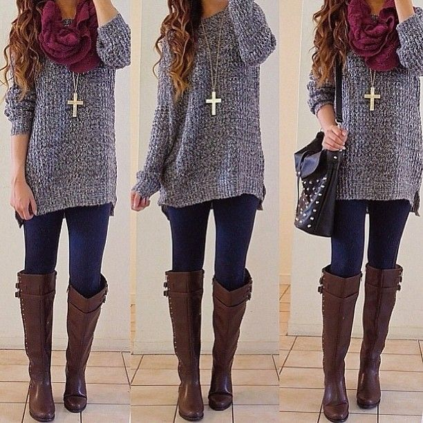 Grey sweater, maroon scarf, jeans, brown boots