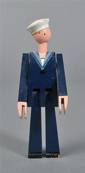 Kay Bojesen 1886-1958. Vintage painted wood toy sailor, Niels Juel