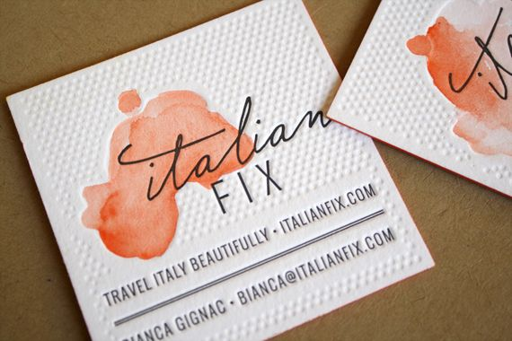 This is one memorable business card. Great use of letterpress & watercolor, Eva Black Design, Italian Fix.