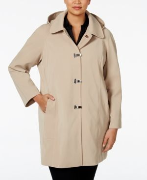 Look polished no matter the weather in this fashionable plus size raincoat from London Fog. | Polyester; lining: polyester | Machine washable | Imported | Point collar; removable hood | Clip front clo