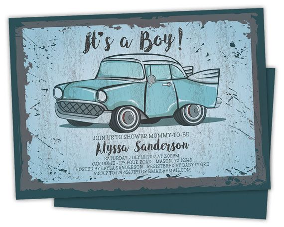 Vintage Car Baby Shower Invitations - Retro Baby Shower Invitations - Vintage Sign Baby Shower Invite - Blue Boy Baby Shower - It's a Boy