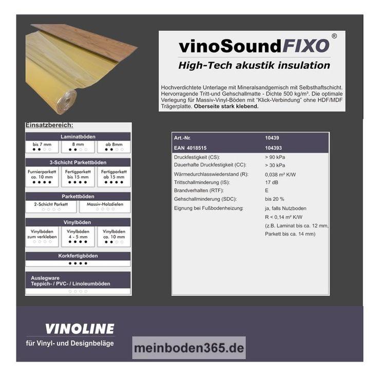 VinoSound Fixo besteht aus einem Mineralsandgemisch und verfügt oberseitig über eine Selbsthaftschicht. Diese macht die Dämmunterlage zum optimalen Produkt, wenn es darum geht einen Vinylboden mit Klickverbindung zu verlegen. Durch die gute Verbindung mit dem darauf verlegten Bodenbelag, kann diese Unterlage gute Trittschall- und Gehschallwerte vorweisen. Sehr Gut geeignet für Massiv-Vinyl-Böden mit Klick-Verbindung ohne HDF/MDF Trägerplatte.