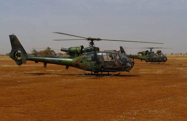 Gazelle helicopters of the 4ème Régiment d'Hélicoptères des Forces spéciales (RHFS), armed with HOT missiles and 20 mm caliber guns