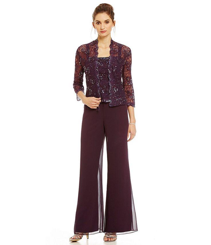 Emma street beaded lace chiffon pant set lace chiffon for Dress pant suits for weddings