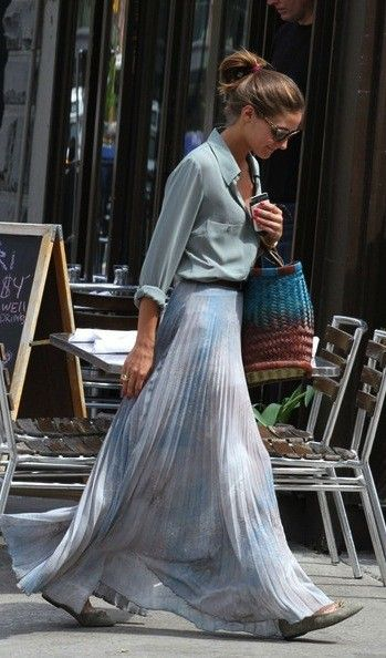 OPOliviapalermo, Fashion, Summer Style, Outfit, Long Skirts, Olivia Palermo, Pleated Maxis, Maxi Skirts, Maxis Skirts