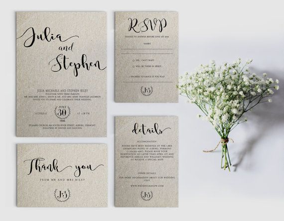 digital wedding invitation printable wedding invitation set personalized wedding invitation calligraphy wedding invitation - Wedding Invitations Sets