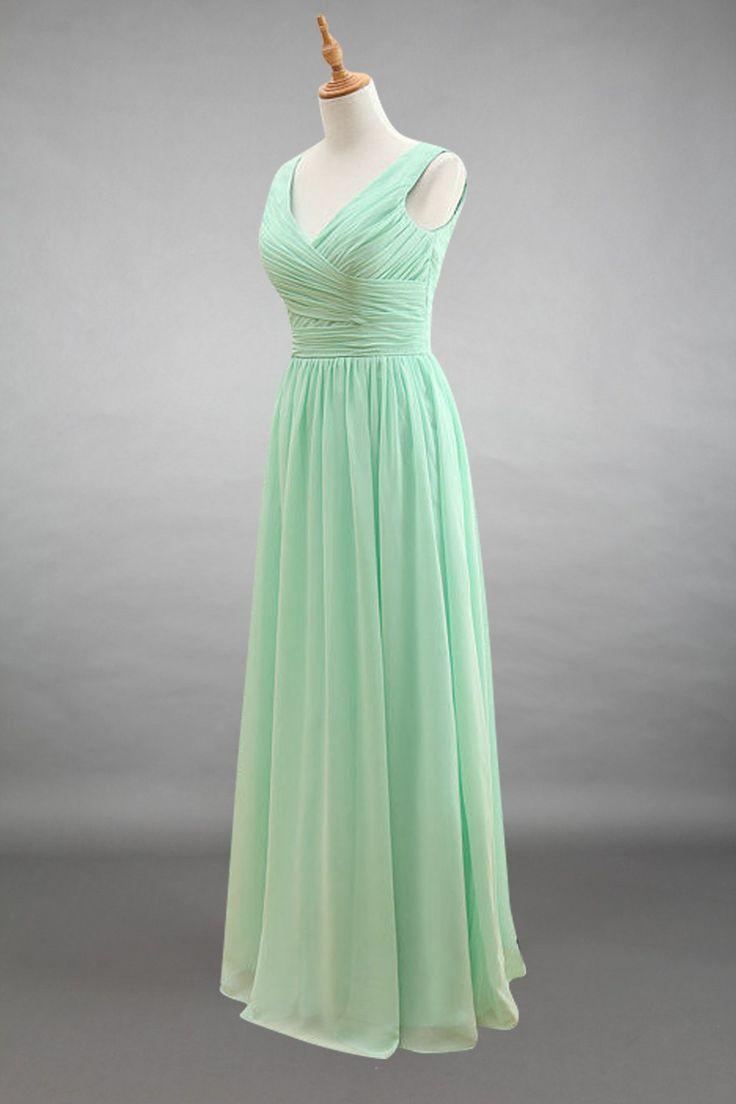 65 best chiffon bridesmaid dresses images on pinterest straps v neck mint chiffon long bridesmaid dress ombrellifo Image collections