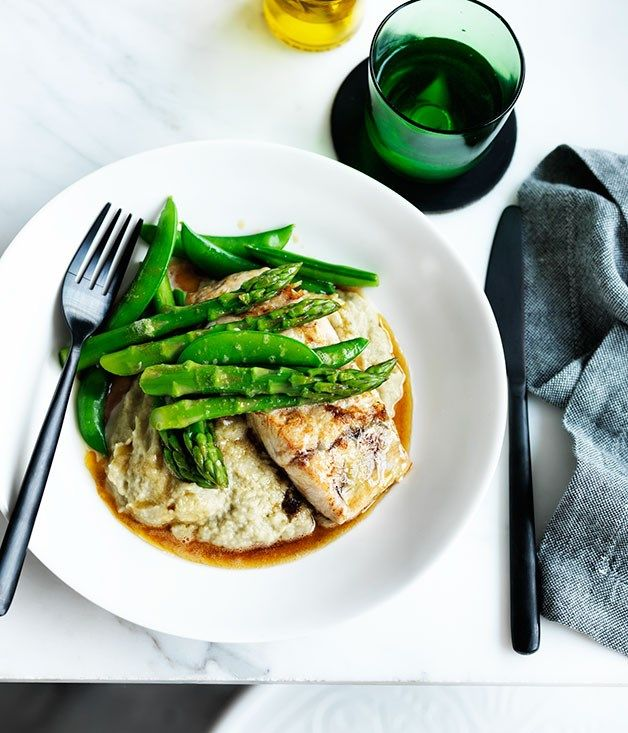 Pan-fried barramundi with eggplant and miso purée recipe :: Gourmet Traveller #flatlay #flatlayapp