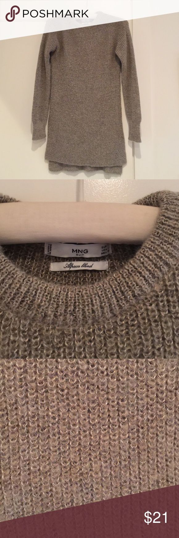 Knit alpaca blend sweater Gray/tan alpaca wool blend sweater. Long style, crew neck. Small side slits starting at waist. Worn once. From mango store international in Spain  (MNG). Europe size small, USA size 4. Mango Sweaters Crew & Scoop Necks