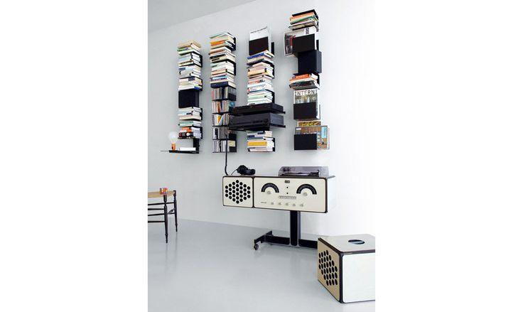 #Libreria nera a parete con ripiani porta cd extendoweb