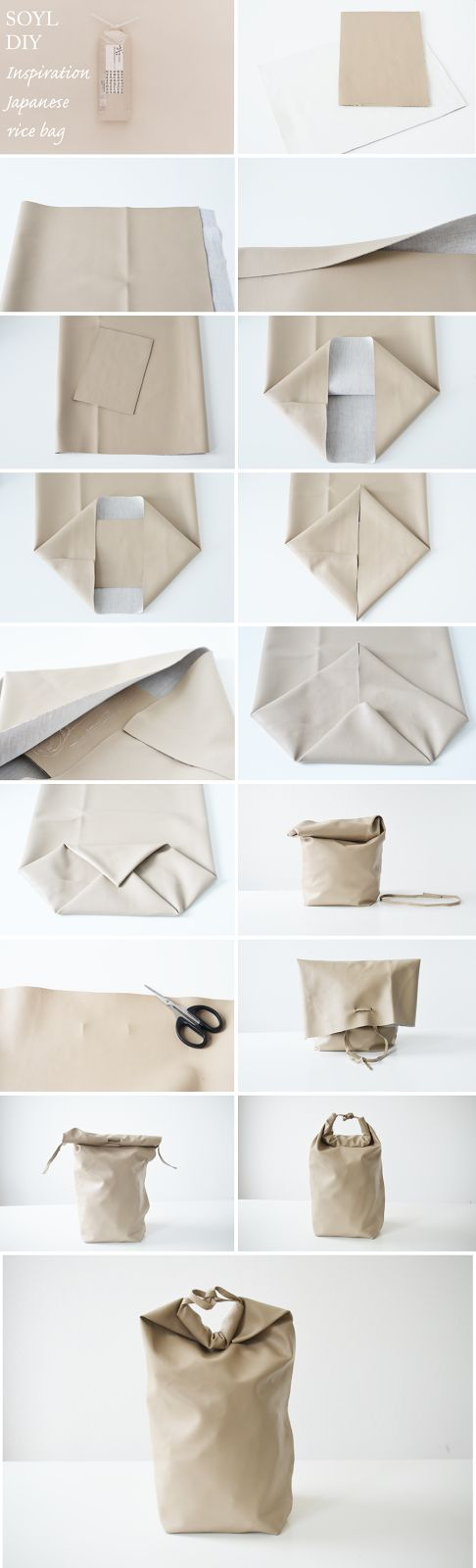 DIY Bag Kenya Hara inspired Japanese rice packaging //Manbo