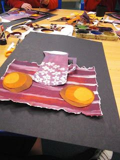 Mrs Crosbie: Cut Paper Still Life.... Interesting to use cut paper of different values so students problem-solve light & dark... Could use those foam double-sided tape dots to create depth too.