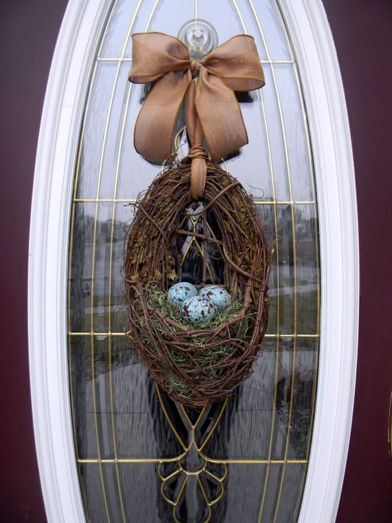 Spring Easter Grapevine Nest Door Wreath Basket...love the robin colored eggs and burlap bow