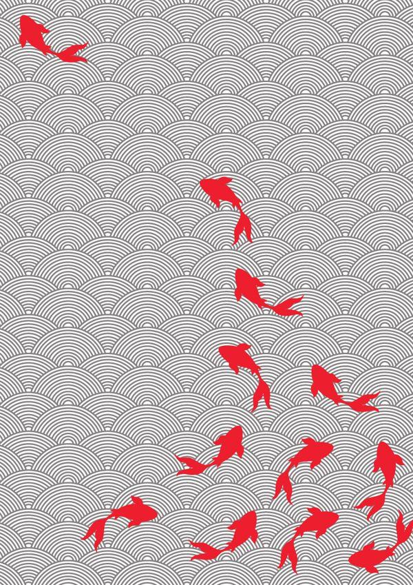 Asian style fabric design koi motif by choomi kim via for Koi fish print fabric