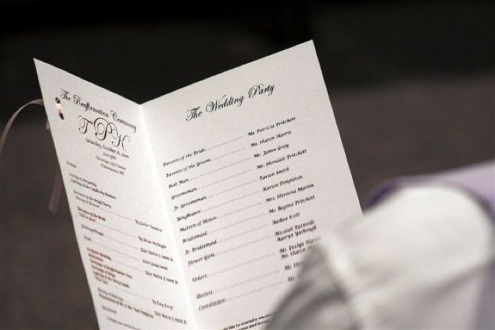 The inside of the hand crafted Wedding Programs