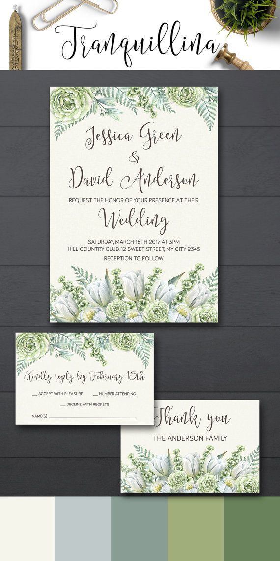 how to make your own printable wedding invitations%0A Floral Wedding Invitation Printable  Greenery Wedding Invitation Suite  Printable  Wedding Invitation  Green and