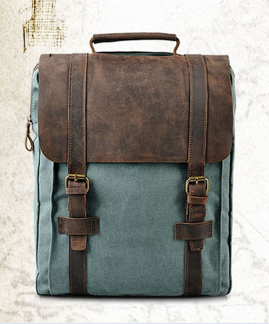 Waxed Leather Canvas Bag Canvas Backpack Backbag