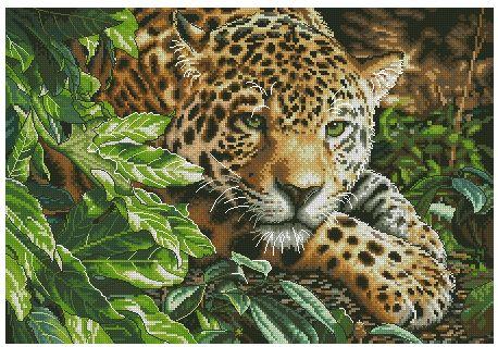 Леопард в покое - Дикие кошки - Животные - Схемы в XSD - Кладовочка схем - вышивка крестиком