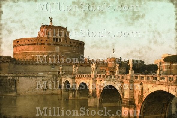 Vintage image of the Saint Angel Castle and the Angels bridge in Rome, Italy