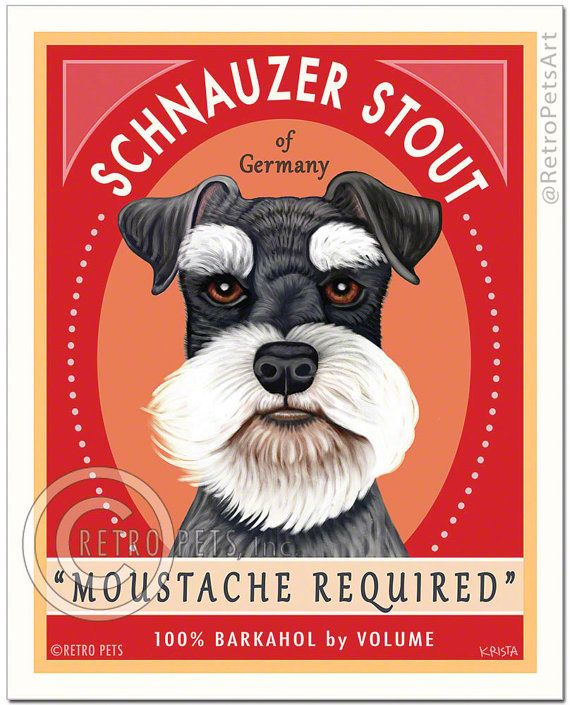 "Schnauzer Art - Schnauzer Stout ""Moustache Required"" - Art Print by Krista Brooks"