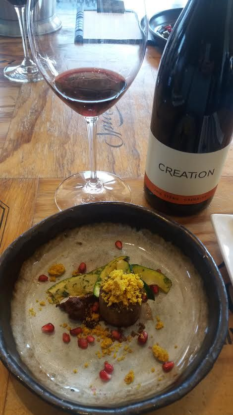 Veal with courgettes - paired with Creation Wines Syrah Grenache.