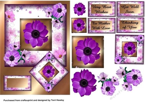 This is a really pretty 3D card front decoupage design that is really easy to make, and it can be used for so many different reasons.  First their is a blank for you to use your own greetings, then you have Very Best Wishes, which can be used for many reasons it's self. then To Mother With Love, that can be used for mothers day, birthday, or to cheer her up. next Get Well Soon, and lastly Thinking of you, this could also be used for many reasons too. I hope you like this design, and enjoy...