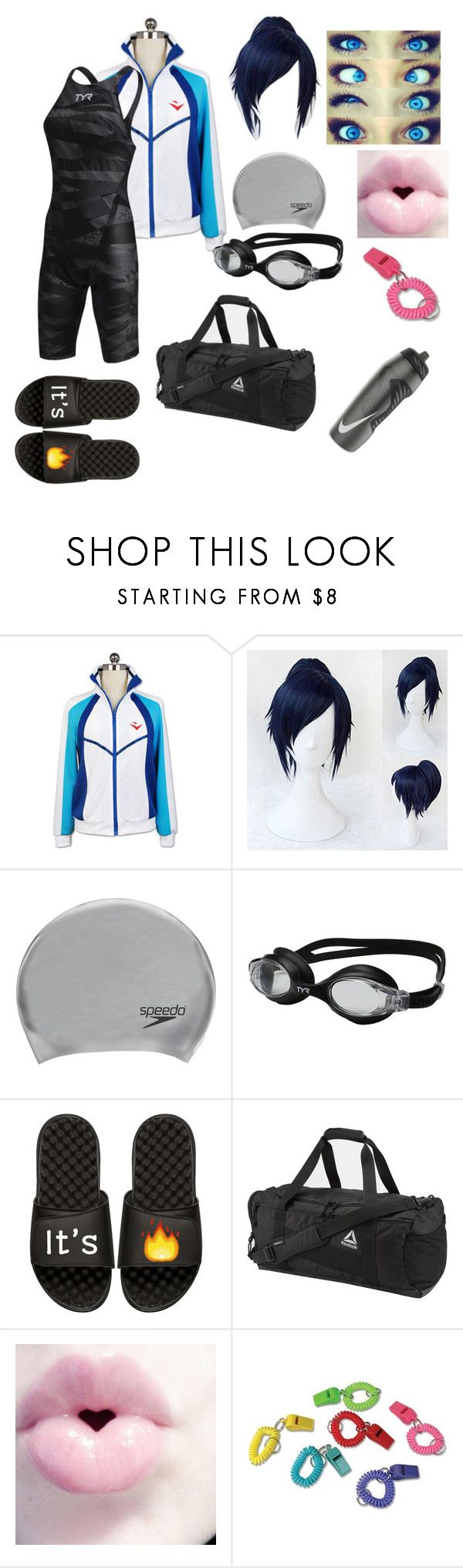 """Untitled #1016"" by dearbemorehansen5 ❤ liked on Polyvore featuring Speedo, TYR, iSlide, Reebok and NIKE"