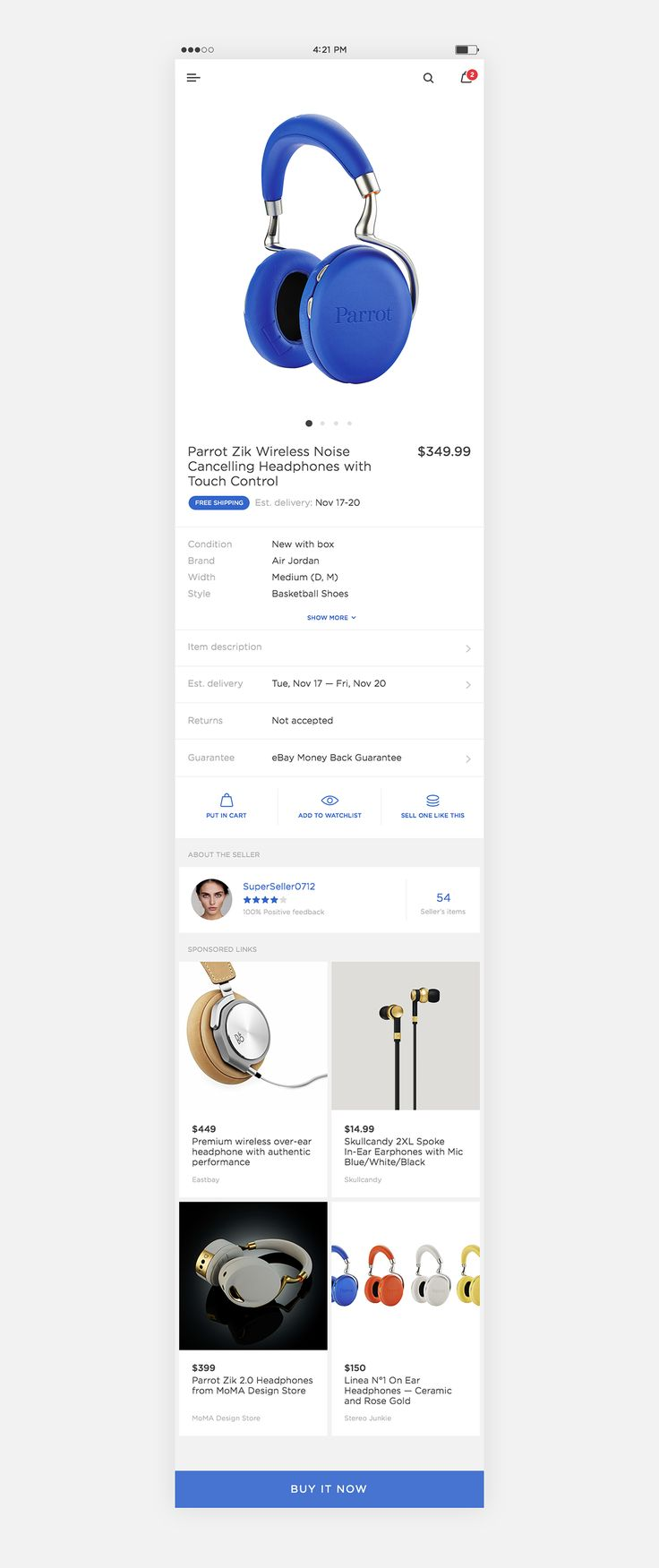 I have spent a day to come up with a refined version of two screens from eBay's mobile app. Feel free to comment and share your thoughts!