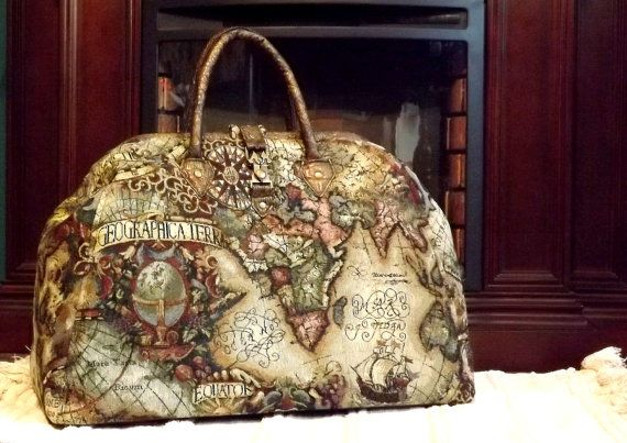 Mary Poppins stijl Steampunk tapijt tas / Travel Bag oude