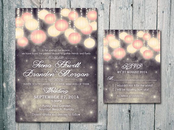 Set of 120 - Love Forever Lamp Wedding Invitation and Reply Card Set - Wedding Stationery - ID406