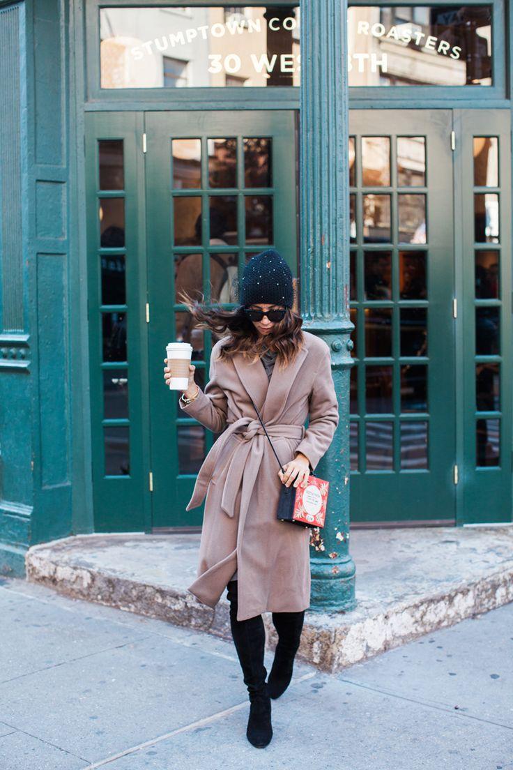First outfit for morning coffee: Coat: MM.LaFleur; Dress: MM.LaFleur; Boots: Stuart Weitzman; Bag: Olympia Le-Tan; Sunglasses: Celine; Hat: …