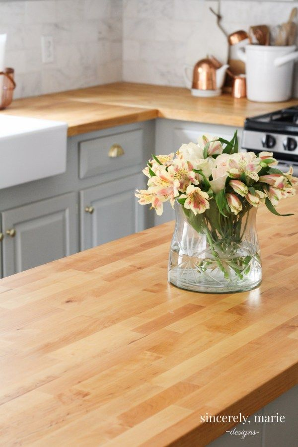 Our Butcher Block Counter Top Review One Year Later Butcher Block Countertops Kitchen Butcher Block Counter Replacing Kitchen Countertops