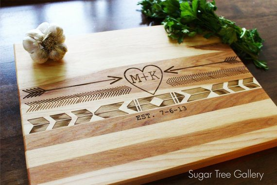 Aztec Personalized Cutting Board - Boho Native American and Southwestern Style - 10x13 Hardwood Kitchen Decor Shown in Hickory
