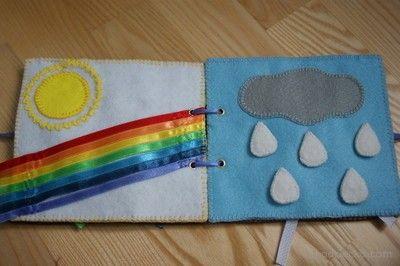 książeczka z filcu dla dziecka słońce, tęcza i deszczowa chmura booklet with the child felt the sun, rainbow and storm cloud