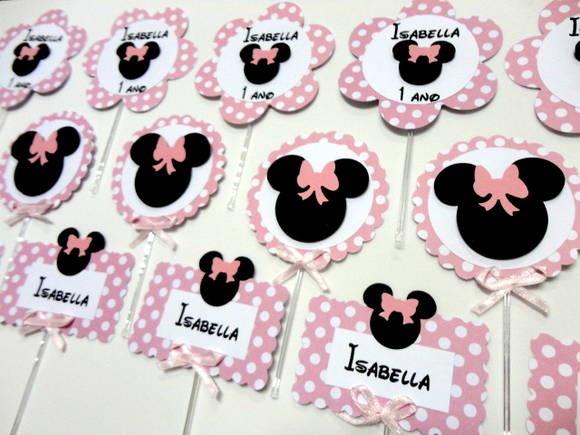 Lindas tags personalizadas Minnie Rosa! Prontinhas para decorar sua festa!!!! Medida de 7cm aproximadamente de diamtro! pra encher sua mesa!!!! R$ 2,50