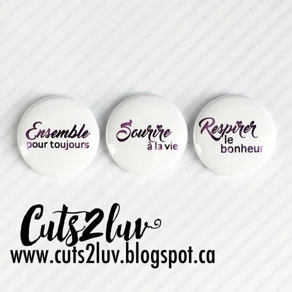 """3 Badges 1"""" Sourire à la vie métallique violet"""