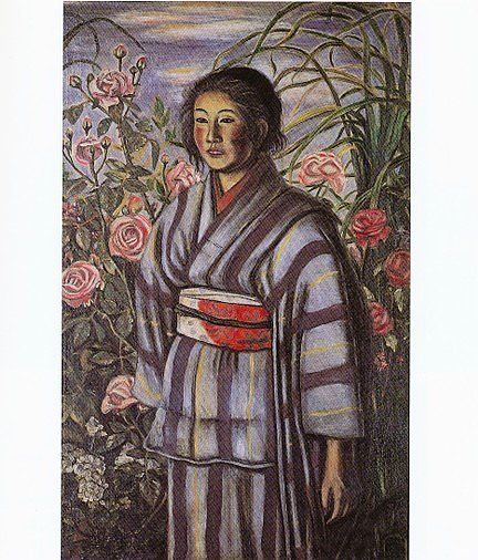 村山槐多「バラと少女」1917