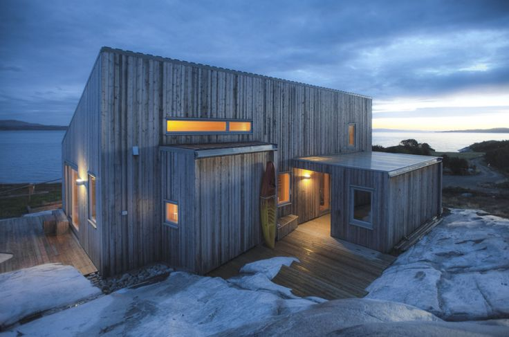 Exterior Materials reference:   This modern wood cabin sits on the rugged coast of Norway. It has a bedroom, a sleeping nook and a loft, all in a footprint of just 645 sq ft. | www.facebook.com/SmallHouseBliss