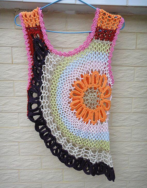Circle Crochet Vest crochet bolero jacket summer multicolor beach cover up