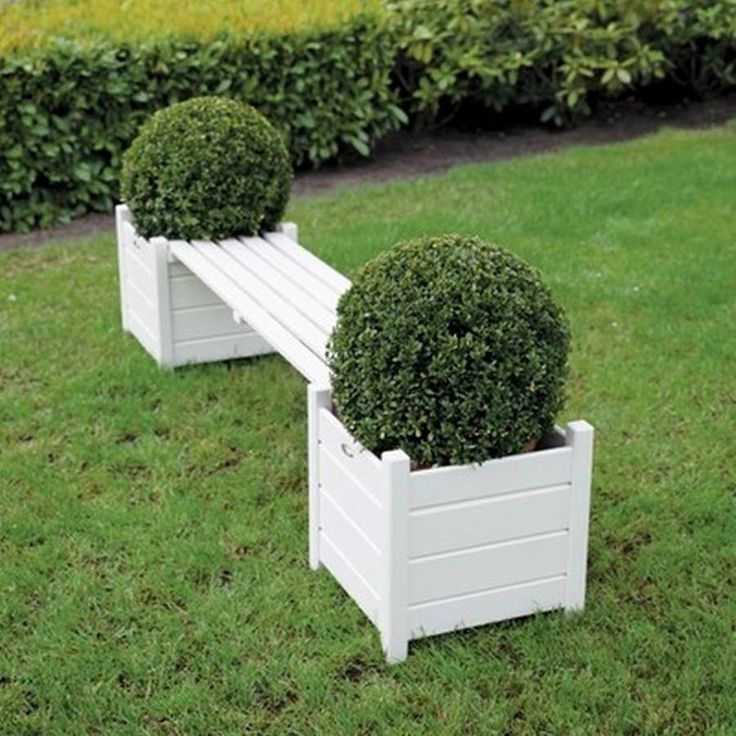 Garden Bench With Planters / Cream