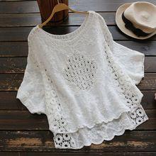 2017 White Blusas Female Tops Bawting Sleeve Women Hollow Out Cotton Crochet Beach Blouses Boho Shirts 0882(China)