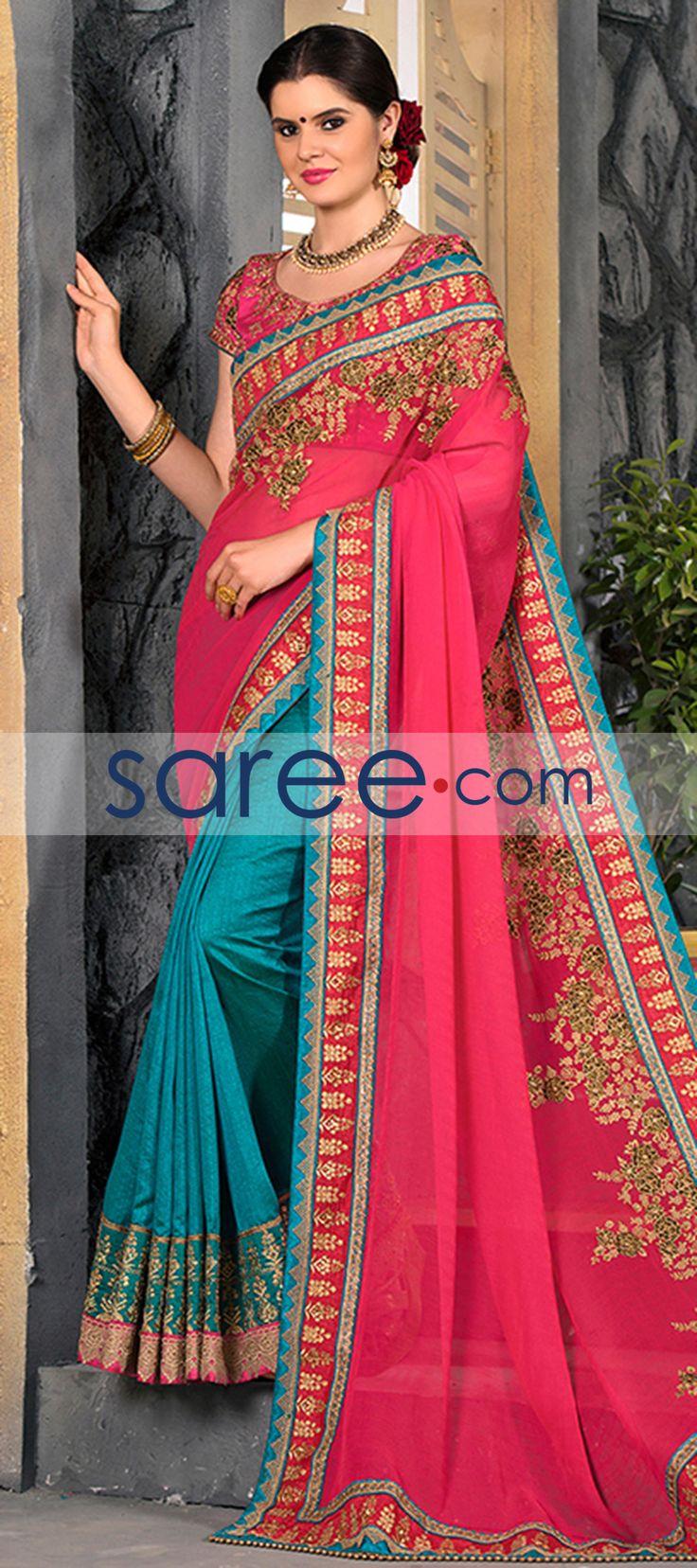 PINK AND SEA GREEN CHIFFON SAREE WITH EMBROIDERY WORK  #Saree #GeorgetteSarees #IndianSaree #Sarees #PartywearSarees #DesignerSarees #SareeFashion