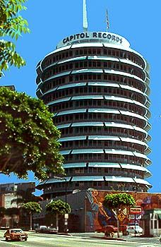 The Capitol Records Building where hundreds of famous artist recorded their albums. It is a massive round building in Hollywood, CA.