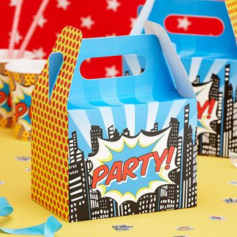 A pack of 5 cardboard Party Boxes with the word