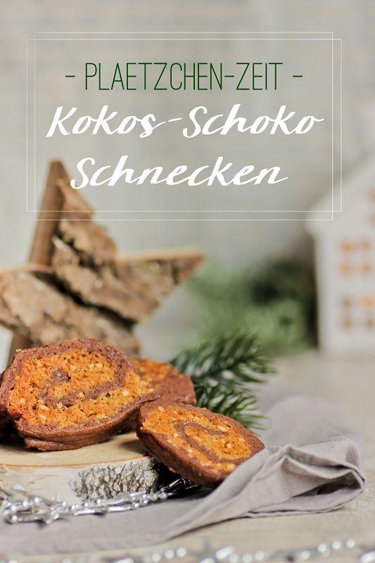 Kokos-Schoko-Schnecken sehen raffiniert aus, sind aber leicht gemachte  Plätzchen mit Schokolade und Kokos. Rezept mit Frischkäse, Kakaopulver,  Haselnüssen und Kokosblütenzucker für leckere Plätzchen für die  Vorweihnachtszeit, der Teig wird dabei einfach gerollt. | Recipe for  German Christmas Cookies called Plätzchen made with chocolate and cocos - looks difficult but is really easy with cream cheese, coconut blossom  sugar, cacao and hazelnuts.