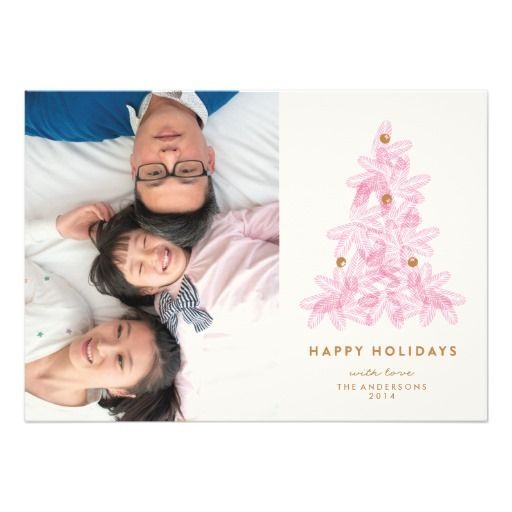 Zazzle Holiday Greeting Cards. Layered Pink Christmas Tree Personalized Invitations